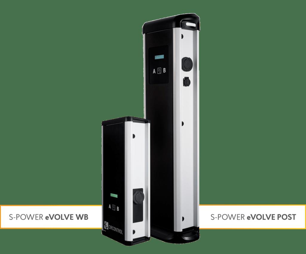 Nástěnné a stojanové nabíjecí stanice S-Power eVOLVE WB a S-Power eVOLVE POST